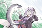 1girl ahoge catching claw_pose commentary dress emphasis_lines fish fishing from_below hair_ornament hair_tubes highres jacket open_mouth purple_dress purple_hair purple_jacket ripples saliva salmon short_hair_with_long_locks sidelocks solo sparkle splashing tasuke violet_eyes vocaloid voiceroid water yuzuki_yukari