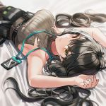 1girl armpits arms_up bangs bare_shoulders belt black_belt black_hair blush breasts closed_mouth eyebrows_visible_through_hair from_above girls_frontline heterochromia id_card lanyard large_breasts long_hair looking_at_viewer lying multicolored_hair on_back red_eyes ro635_(girls_frontline) sideboob silence_girl sleeveless sleeveless_sweater solo streaked_hair sweater tagme tied_hair torn_clothes white_hair yellow_eyes