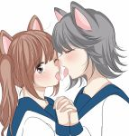 2girls animal_ears bangs blush brown_hair cat_ears character_request closed_eyes commentary_request eyebrows_visible_through_hair french_kiss grey_hair height_difference highres holding_hands kiss long_sleeves medium_hair multiple_girls one_eye_closed open_mouth saliva saliva_trail school_uniform shirt short_twintails simple_background sinogiasa03 tongue twintails upper_body white_background white_shirt wolf_ears yuri