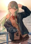 1girl absurdres aqua_eyes aqua_hair black_jacket black_skirt brown_cardigan cardigan commentary_request cowboy_shot cup disposable_cup hair_ornament hairclip highres jacket kantai_collection kumanoko long_hair looking_at_viewer ocean outdoors pleated_skirt railing skirt solo standing sunset suzuya_(kantai_collection)