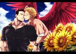 2boys bara black_border black_shirt blonde_hair blue_eyes boku_no_hero_academia border chest clouds cloudy_sky couple facial_hair facial_scar feathered_wings floral_background flower flying hawks_(boku_no_hero_academia) imminent_kiss male_focus manly multiple_boys muscle popo_take redhead scar shirt short_hair short_sleeves sky spiky_hair stubble sunflower todoroki_enji upper_body watch wings yaoi