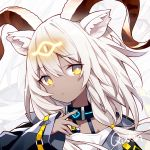 1girl animal_ears arknights bangs beeswax_(arknights) black_collar chinese_commentary collar commentary_request dark_skin eyebrows_visible_through_hair hair_between_eyes head_tilt horns kurisu_tina long_hair long_sleeves looking_at_viewer silver_hair solo upper_body yellow_eyes zoom_layer