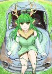 1girl animal_ears antlers breasts car english_commentary field from_above green_eyes green_hair ground_vehicle haruka_karibu indie_virtual_youtuber long_hair looking_up medium_breasts moose_ears moose_girl motor_vehicle rust sitting smile solo sumisi virtual_youtuber