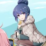 2girls bangs blue_hair blue_jacket blush brown_skirt cellphone commentary_request cup eyebrows_visible_through_hair food fringe_trim hair_between_eyes hair_bun hand_up highres holding holding_cup holding_food jacket kagamihara_nadeshiko kuena leaning_forward long_sleeves looking_at_viewer mug multiple_girls out_of_frame parted_lips phone pink_hair shima_rin sitting skirt solo_focus taking_picture violet_eyes yurucamp