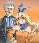1girl blonde_hair blue_neckwear bow breasts brown_eyes detached_sleeves dress drill_hair hair_ribbon hairband highres jane_maxwell long_hair magdalen_harts orange_dress orange_sleeves ribbon sidelocks smile user_svkg3578 wild_arms wild_arms_1