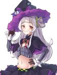 1girl adjusting_clothes adjusting_headwear brown_eyes brown_gloves capelet commentary_request gloves grey_hair hair_bun hand_on_hip hat highres hololive long_hair long_sleeves looking_at_viewer midriff murasaki_shion namaonpa navel simple_background smile solo upper_body virtual_youtuber white_background witch_hat