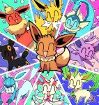 ^_^ ajinomisni circle closed_eyes eevee eeveelutions espeon fins flareon gen_1_pokemon gen_2_pokemon gen_4_pokemon gen_6_pokemon glaceon gotcha! halftone jolteon leafeon no_humans open_mouth pokemon pokemon_(creature) sitting smile sylveon triangle umbreon vaporeon