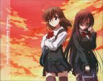 2girls album_cover bag black_skirt brown_hair clouds cover cowboy_shot highres holding holding_bag katsura_kotonoha multiple_girls official_art orange_sky red_ribbon red_sky ribbon saionji_sekai scan school_days school_uniform skirt sky thigh-highs twilight worried zettai_ryouiki