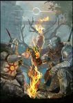 1boy 1other armor bare_tree brown_capelet brown_gloves chosen_undead claymore_(sword) dark_souls embers english_text estus_flask fire flame full_armor gauntlets gloves greatsword greaves hand_up helmet highres holding_flask knee_up knight looking_at_another nslacka outdoors pauldrons planted_sword planted_weapon pouch shield shoulder_armor single_gauntlet single_glove sitting solaire_of_astora souls_(from_software) sun_(symbol) surcoat sword toast_(gesture) tree weapon weapon_on_back