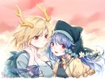 2girls apron arm_ribbon arm_up bangs blonde_hair blue_hair blue_shirt blush commentary_request dragon_horns dress expressionless floating_hair flower fy_fei_xiao_ya gradient_sky green_headwear hand_in_hair hand_on_another's_shoulder haniyasushin_keiki hat hat_flower high_collar hood horns kicchou_yachie long_hair looking_at_another looking_at_viewer magatama magatama_necklace multiple_girls open_mouth puffy_short_sleeves puffy_sleeves red_eyes red_sky ribbon shirt short_hair short_sleeves sky slit_pupils standing swept_bangs touhou turtle_shell upper_body very_long_hair yellow_dress
