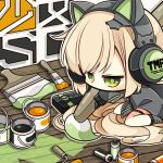 1girl 7:08 absurdres animal_ears black_footwear black_gloves black_jacket blonde_hair cat_ear_headphones cat_ears character_name chibi commentary_request expressionless eyebrows_visible_through_hair floor girls_frontline gloves green_eyes hair_between_eyes headphones highres holding holding_paintbrush jacket long_hair no_mouth no_nose paint paintbrush painting seiza sidelocks sitting solo spray_can thigh_strap tmp_(girls_frontline) very_long_hair