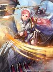 1girl axe bangs battle_axe cherche_(fire_emblem) day dragon fire_emblem fire_emblem_awakening fire_emblem_cipher gerome_(fire_emblem) hairband holding holding_weapon lips long_hair looking_at_viewer mask matsurika_youko official_art outdoors pink_hair red_eyes short_hair solo weapon wyvern