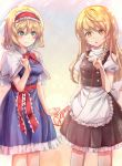 2girls :o alice_margatroid apron blonde_hair blush braid breasts capelet double-breasted green_eyes hand_on_own_chest highres kirisame_marisa lace_hairband long_hair medium_breasts multiple_girls pinky_out short_hair side_braid string string_of_fate torottye touhou yellow_background yellow_eyes yuri