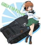 1girl brown_eyes brown_hair caterpillar_tracks cyber_(cyber_knight) emblem english_commentary girls_und_panzer ground_vehicle headphones military military_vehicle motor_vehicle nishizumi_miho ooarai_(emblem) ooarai_school_uniform panzerkampfwagen_iv school_uniform shirt short_hair skirt smile tank uniform