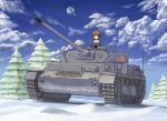 1girl absurdres artist_request brown_eyes brown_hair caterpillar_tracks clouds commentary_request day girls_und_panzer ground_vehicle highres military military_vehicle motor_vehicle nishizumi_miho ooarai_military_uniform panzerkampfwagen_iv short_hair sky smile snow tank tree