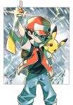 1boy arm_up backpack badge bag bangs baseball_cap black_shirt brown_hair closed_mouth commentary_request gen_1_pokemon glint hair_between_eyes hat highres holding holding_poke_ball hyou_(hyouga617) jacket pants pikachu poke_ball pokemon pokemon_(creature) pokemon_(game) pokemon_on_arm pokemon_rgby red_(pokemon) shirt short_sleeves smile two-tone_headwear