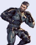 1boy alejandro_tio bandaid bandaid_on_nose bara beard black_bodysuit bodysuit brown_hair chest commission facial_hair feet_out_of_frame gloves harness jewelry male_focus muscle navel navel_hair necklace original short_hair solo thighs