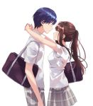 1boy 1girl bag bangs blush breasts brown_eyes brown_hair character_request closed_mouth copyright_request cover_image cowboy_shot eye_contact face-to-face fly_(marguerite) from_side grey_skirt hetero highres long_hair looking_at_another medium_breasts miniskirt novel_illustration official_art outstretched_arms plaid plaid_skirt ponytail profile school_bag school_uniform shirt short_sleeves shoulder_bag sidelocks simple_background skirt smile textless untucked_shirt white_background white_shirt