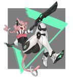 1girl animal_ears armor breasts cat_girl gun heterochromia highres n9+ open_mouth original pink_hair sword tail weapon