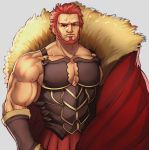 1boy alex_(cerealex) bara bare_shoulders beard bracer breastplate cape cleavage_cutout clothing_cutout cowboy_shot facial_hair fate/grand_order fate/zero fate_(series) fur-trimmed_cape fur_trim iskandar_(fate) leather male_focus manly muscle red_cape red_eyes redhead short_hair solo veins