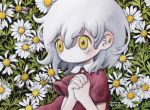 1girl dated flower grey_hair hands_together leaf medium_hair no_nose original red_shirt shirt short_sleeves signature solo tears upper_body white_flower wind yellow_eyes zukky000