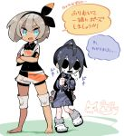 1boy 1girl ahoge allister_(pokemon) aqua_eyes bangs barefoot bea_(pokemon) black_bodysuit black_hair black_hairband bodysuit bodysuit_under_clothes bow_hairband collared_shirt commentary_request crossed_arms eevee eyelashes flying_sweatdrops gen_1_pokemon gloves gotcha! grey_hair gym_leader hair_between_eyes hairband hands_up highres knee_pads long_sleeves looking_at_another mask open_mouth pikachu pokemon pokemon_(game) pokemon_swsh print_shirt print_shorts sakutake_(ue3sayu) shiny shiny_skin shirt shoes short_hair short_sleeves shorts single_glove speech_bubble standing suspender_shorts suspenders teeth tongue translation_request