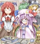 3girls arms_up bangs bat_wings black_skirt blonde_hair blush book book_stack bookshelf bow bowtie braid brown_skirt brown_vest chair closed_eyes coffee_cup commentary_request crescent crescent_hair_ornament cup disposable_cup dress eyebrows_visible_through_hair glasses hair_ornament hat hat_ribbon head_wings highres holding holding_cup holding_tray juliet_sleeves karakusa_(pattern) kirisame_marisa koakuma lantern long_hair long_sleeves looking_at_another looking_down mob_cap multiple_girls o3o open_book parted_lips patchouli_knowledge pince-nez pink_headwear pink_robe puffy_sleeves purple_hair red_neckwear redhead ribbon sack saucer shirt sidelocks single_braid sitting skirt smile sneaking standing standing_on_one_leg striped striped_dress table theft touhou tray v_arms very_long_hair vest violet_eyes white_shirt wings witch_hat yellow_eyes ys_(ytoskyoku-57)