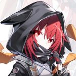 1girl arknights bangs black_gloves black_jacket chinese_commentary commentary_request crownslayer_(arknights) eyebrows_visible_through_hair gloves hair_between_eyes head_tilt hood hooded_jacket jacket kurisu_tina looking_at_viewer red_eyes redhead short_hair solo upper_body zoom_layer