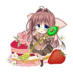 1girl apron artist_name asakura_otome beige_legwear blue_eyes boots bow brown_hair brown_shirt brown_skirt cake chibi da_capo da_capo_ii eyebrows_visible_through_hair flower_request food fork fruit hair_between_eyes hair_bow hair_intakes highres holding holding_fork kayura_yuka long_hair long_sleeves looking_at_viewer puffy_sleeves shirt simple_background skirt solo strawberry thigh-highs white_background