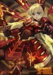 1girl absurdres armor blonde_hair blue_eyes bodysuit breastplate breasts covered_navel duel_monster fire highres holding holding_sword holding_weapon long_hair luobo_carrot open_mouth sky_striker_ace_-_kagari solo sword weapon yuu-gi-ou