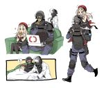 1girl 2boys absurdres beret black_legwear blush carrying closed_eyes coach commentary_request crossover doc_(rainbow_six_siege) dress eating girls_frontline gloves hat helmet highres labcoat long_hair long_sleeves military_operator mp5_(girls_frontline) multiple_boys open_mouth pantyhose pizza_box pizza_slice rainbow_six_siege red_headwear rook_(rainbow_six_siege) sanso_(kasyawamoti) shoulder_carry simple_background sitting sleeping sleeveless sleeveless_dress spoken_zzz walking white_background white_gloves zzz
