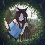 1girl :| animal_ear_fluff animal_ears bangs bare_shoulders black_hair blouse blue_blouse blue_eyes breasts brick cat_ears cat_tail choker closed_mouth eyebrows_visible_through_hair frills hands_up highres hole_in_wall ivy long_hair looking_at_viewer medium_breasts nekoze_(s22834712) off_shoulder original parted_bangs plant skirt solo spaghetti_strap swept_bangs tail tu_ya_(nekoze) very_long_hair