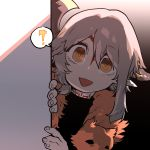 1girl :d axe axehorn_(ssambatea) bright_pupils chestnut_mouth fingernails grey_hair highres looking_at_viewer open_mouth orange_eyes original peeking_out pelt ringed_eyes smile solo spoken_object ssambatea wide-eyed yellow_eyes
