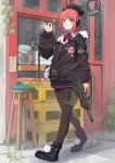 1girl absurdres blush commission girls_frontline gun h&k_mp7 hanabusaraleigh highres huge_filesize mp7_(girls_frontline) pantyhose redhead skeb_commission solo submachine_gun weapon yellow_eyes