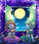 2girls ahoge arm_support bangs black_legwear blunt_bangs blush brown_hair closed_eyes clouds commentary_request cup dango dress eyebrows_visible_through_hair food full_moon green_eyes green_hair hat headwear_removed highres holding holding_cup looking_at_another moon multiple_girls night night_sky nishida_satono open_door open_mouth pantyhose partial_commentary petals pink_dress pote_(ptkan) profile puffy_short_sleeves puffy_sleeves sakazuki seiza short_hair_with_long_locks short_sleeves sidelocks sitting sky smile tate_eboshi teireida_mai touhou tree_branch tsukimi tsukimi_dango wagashi