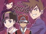 4boys backwards_hat baseball_cap black_hair blue_oak brown_eyes brown_hair closed_mouth collarbone commentary_request copyright_name ethan_(pokemon) gotcha! hat head_tilt looking_at_viewer male_focus multiple_boys parted_lips pokemon pokemon_(game) pokemon_hgss pokemon_rgby purple_background red_(pokemon) redhead signature silver_(pokemon) smile spiky_hair teeth tomosatooon v-shaped_eyebrows