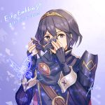 1girl anbe_yoshirou armor bangs belt blue_eyes blue_hair breasts bug butterfly cape fingerless_gloves fire_emblem fire_emblem_awakening fire_emblem_cipher gloves highres insect looking_at_viewer lucina lucina_(fire_emblem) mask pauldrons short_hair shoulder_armor small_breasts tiara