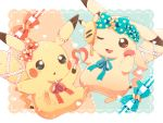 aqua_bow blush bow brown_eyes commentary_request gen_1_pokemon green_eyes hand_mirror hand_on_own_cheek heart highres holding jippe lipstick lipstick_tube makeup mirror neck_ribbon no_humans one_eye_closed open_mouth orange_bow pikachu pokemon polka_dot polka_dot_bow ribbon tail tail_ornament tongue
