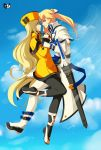 1boy 1girl ayb-art blonde_hair blue_eyes guilty_gear hand_on_another's_face hat highres ky_kiske long_hair millia_rage ponytail protected_link sword weapon