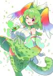 1girl ;d alternate_color animal_ears bangs cerval cherry commentary cup drinking_glass drinking_straw eyebrows_visible_through_hair food fruit gloves green_gloves green_hair green_legwear green_neckwear green_skirt head_wings high-waist_skirt highres holding holding_cup kamuraaa_615 kemono_friends leg_up looking_at_viewer medium_hair one_eye_closed open_mouth print_gloves print_legwear print_neckwear print_skirt rainbow_wings red_eyes serval_(kemono_friends) serval_ears serval_print serval_tail shirt shoes skirt sleeveless sleeveless_shirt smile solo standing standing_on_one_leg tail thigh-highs white_footwear white_shirt