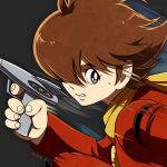 brown_eyes brown_hair cyborg_009 dated grey_background gun hair_over_one_eye holding holding_gun holding_weapon jacket long_sleeves male_focus motion_blur red_jacket shimamura_joe sorges sweatdrop thick_eyebrows upper_body weapon yellow_neckwear