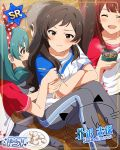 black_eyes blush brown_hair character_name idolmaster_million_live!_theater_days kitazawa_shiho long_hair shirt