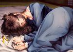 1girl absurdres black_serafuku blanket blue_eyes brown_hair futon hair_down hair_flaps hair_ornament_removed highres huge_filesize kantai_collection long_hair looking_at_viewer lying on_bed on_side remodel_(kantai_collection) school_uniform serafuku shigure_(kantai_collection) solo tatami tsui_(kojiya)