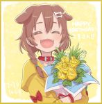 1girl ^_^ ^o^ animal_ears birthday blush bone_hair_ornament border bouquet braid brown_hair choker closed_eyes collar commentary cowboy_shot dated dog_ears dress fangs flower hair_between_eyes happy_birthday holding holding_bouquet hololive inugami_korone jacket looking_at_viewer medium_hair open_clothes open_jacket open_mouth red_choker side_braids simple_background sketch smile solo twin_braids upper_body virtual_youtuber white_dress wristband yellow_background yellow_jacket yoshida_on