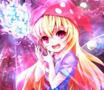 1girl american_flag_dress bangs blonde_hair clownpiece commentary_request fairy_wings fire hat highres jester_cap long_hair looking_at_viewer open_mouth pi_(pnipippi) pink_eyes polka_dot revision short_sleeves smile solo star_(symbol) star_print striped teeth torch touhou upper_body wings
