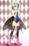 1girl antennae bare_arms bare_shoulders black_legwear black_wings blue_hair blue_swimsuit boots breasts brown_eyes butterfly_wings chima_q eternity_larva full_body heart heart_print highres leaf leaf_on_head one-piece_swimsuit pink_footwear small_breasts solo standing swimsuit thigh-highs touhou wings