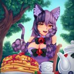1girl :d animal_ear_fluff animal_ears argyle artist_name bangs bare_shoulders bell blueberry blush bow bowtie breasts cat_ears cat_girl cat_tail chair cheshire_cat_(monster_girl_encyclopedia) commentary cup day eyebrows_visible_through_hair eyes_visible_through_hair food fruit hair_between_eyes hand_on_own_cheek highres holding holding_spoon jam jingle_bell large_breasts looking_at_viewer monster_girl_encyclopedia multicolored_hair open_mouth outdoors pancake paws purple_hair red_eyes smile solo spoon stack_of_pancakes strawberry striped_tail symbol_commentary tail teacup teapot tree two-tone_hair