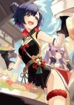 2girls absurdres bangs belt blue_hair blurry blurry_background braid breasts china_dress chinese_clothes chopsticks dress eating elbow_gloves food food_in_mouth genshin_impact gloves groin hair_rings highres holding holding_chopsticks holding_food holding_plate keqing_(genshin_impact) lumo_1121 multiple_girls open_mouth plate purple_hair red_eyes sleeveless small_breasts smile thigh_strap upper_teeth xiangling_(genshin_impact) yellow_eyes