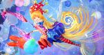 1girl absurdly_long_hair absurdres american_flag_dress american_flag_legwear blonde_hair blue_background blue_dress blue_legwear breasts clownpiece crescent dress fairy_wings fire full_body hat highres hinomaru_bento holding huge_filesize jester_cap long_hair looking_at_viewer moon multicolored multicolored_clothes multicolored_dress neck_ruff open_mouth pink_eyes polka_dot polka_dot_headwear red_dress red_headwear red_legwear short_sleeves small_breasts smile solo star_(symbol) star_print striped striped_legwear torch touhou transparent_wings very_long_hair wings