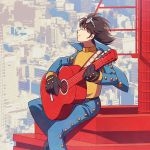 android black_gloves blue_pants blurry blurry_background brown_hair cityscape closed_eyes day gloves goggles goggles_on_head guitar instrument jinzou_ningen_kikaider jiro_(kikaider) kikaider_(series) music outdoors pants photo_background playing_instrument shirt sitting sorges yellow_shirt